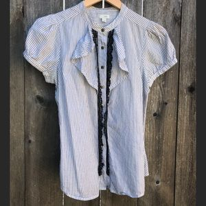 Anthropologie Odille Stripe and Lace Button up Top